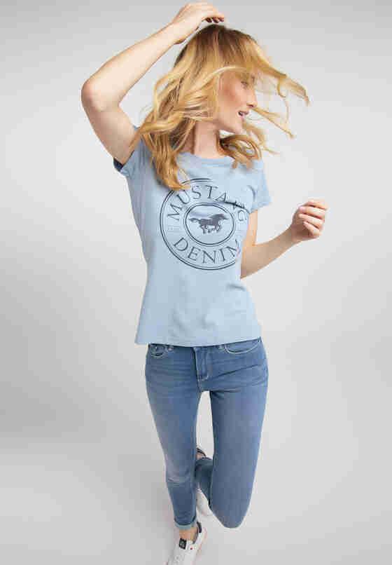 T-Shirt Label-Shirt, Blau, model