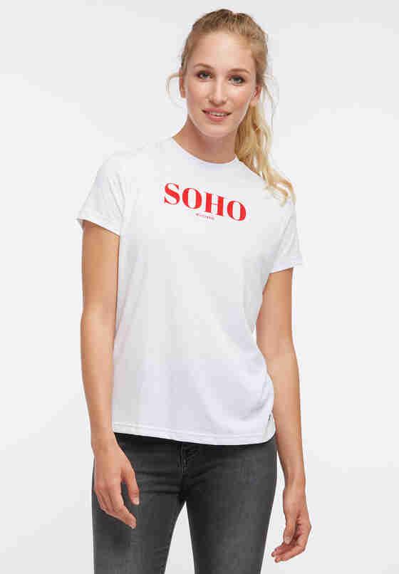 T-Shirt Flockprint-Shirt, Weiß, model