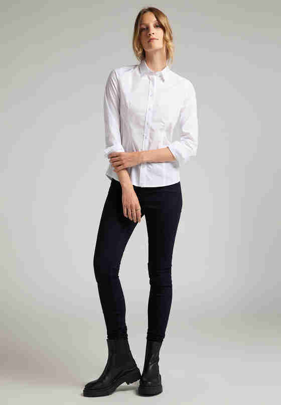 Bluse Hemdbluse, Weiß, model