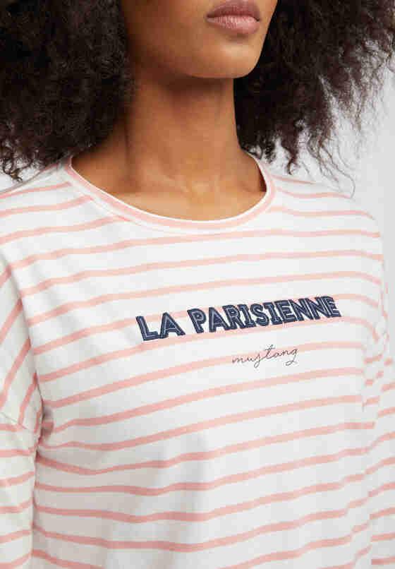 T-Shirt Streifen-Langarmshirt, Rosa, model