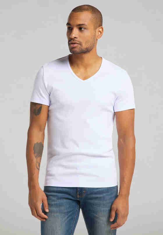 T-Shirt Aaron V Basic, Weiß, model