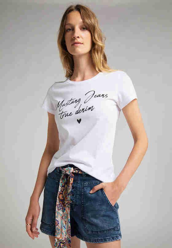 T-Shirt Print-Shirt, Weiß, model