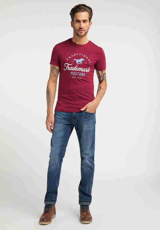 T-Shirt Aaron C Print, Rot, model