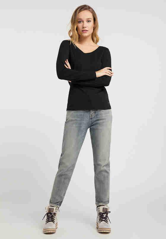 T-Shirt Basic-Longsleeve, Schwarz, model