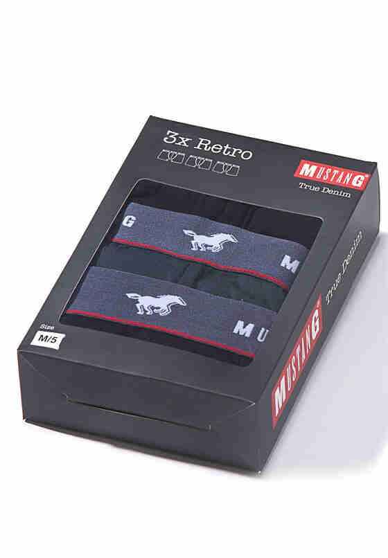 Unterwäsche Mustang retro 3 pc pack, Schwarz, bueste