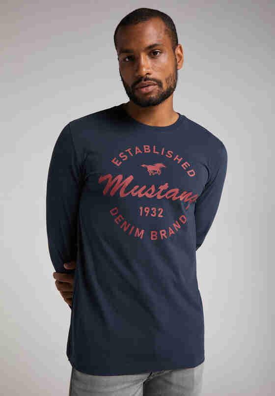 T-Shirt Logo-Langarmshirt, Blau, model