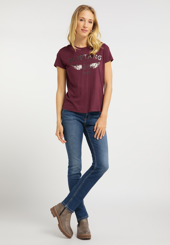 T Shirt mit glänzendem Logo
