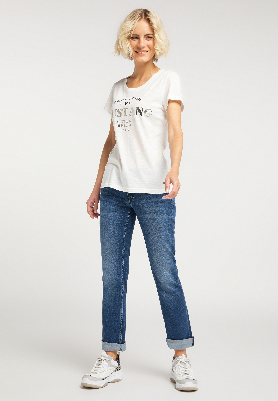 T Shirt mit großem Metallic Print